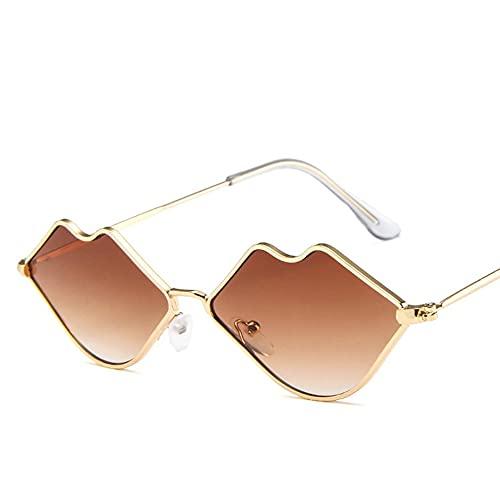 CNmuca Óculos de sol da moda europeia e americana Óculos de personalidade de tendência Óculos de sol de armação pequena Óculos de sol retrô Lábios Óculos de sol marrom duplo com armação dourada