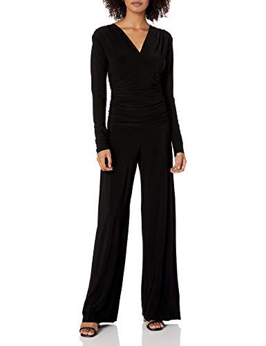 Norma Kamali Women's V Neck Longsleeve Shirred Waist Jumpsuit, Black, X-Small