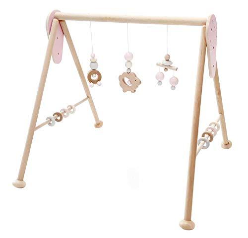 Hess Holzspielzeug 10128447 Babyspielgerät Schaf, Spielbogen aus Holz mit Figuren und Rasseln, für Babys ab 0 Monaten, nature rosa, ca. 60 x 58 x 55 cm, rosa, 1400 g