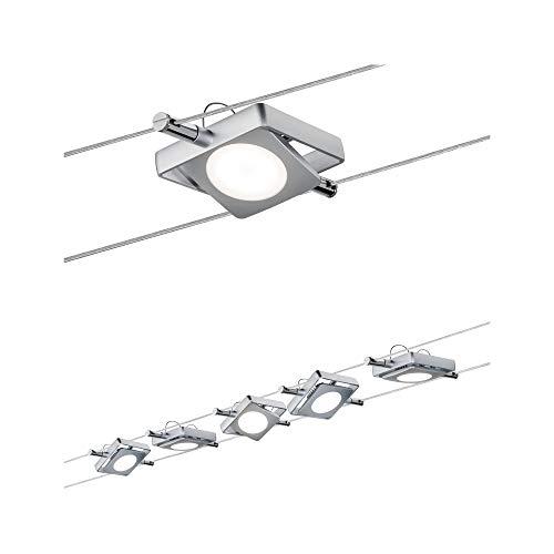Paulmann 941.08 Seilsystem MacLED Set erweiterbar Warmweiß 5x4W LED Chrom matt 94108 Seilleuchte Hängeleuchte