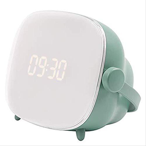 TEHWDE Mini Multifunctionele wekker, tv-nachtlampje en zonsopgang, analoog LCD-scherm, instelbare verlichtingstijd en helderheid voor thuis, op kantoor, in de slaapkamer