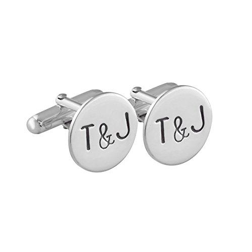 Gemelos inicial para camisa personalizados de plata esterlina hecho a
