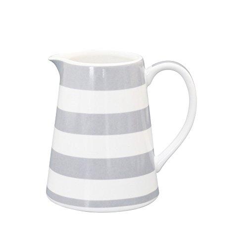 Krasilnikoff - Milchkännchen - Weiß mit grauen Streifen - H9,50 cm