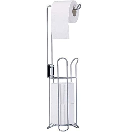 Toilet Paper Holder, Free Standing Toilet Paper Holder Stand, Stainless Steel Toilet Paper Stand and Dispenser, Toilet Paper Roll Holder Stand for 3 Rolls, Toilet Tissue Holder for Bathroom