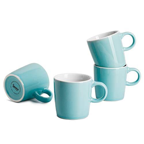 Sweese Espresso-Tassen, Porzellan, ca. 100 ml, 4 Stück türkis