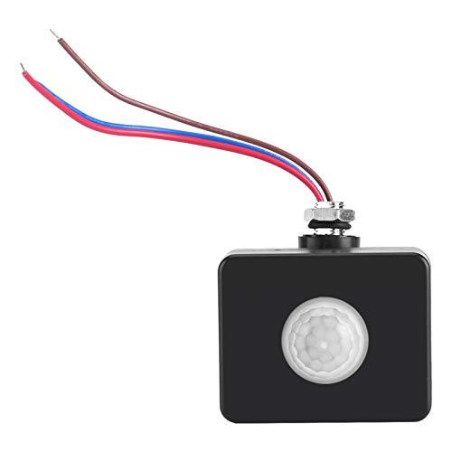 Zaraddia Sensor de Movimiento, Interruptor PIR Negro, Detector de Sensor de iluminación de Movimiento por Infrarrojos, Interruptor de pavimento de Pared, Exterior
