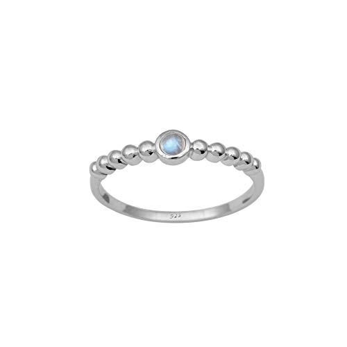 Shine Jewel Anillo Solitario de Plata esterlina 925 con Piedra Lunar de Arco Iris