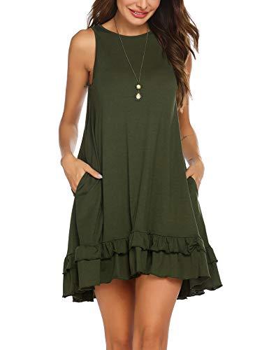 Beyove Women Tank Top Dress Swing Dress Round Neck Cotton Dresses Sleeveless Comfy Dress with Pocket Army Green