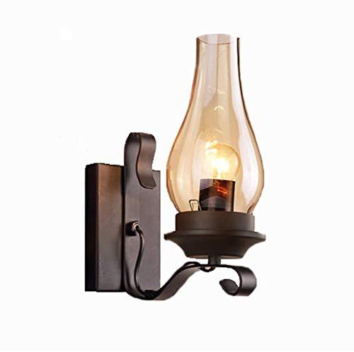 Unbekannt Lámpara de pared retro industrial de hierro Hurricane Oil Lamps - Latón antiguo de 14 pulgadas - Lámpara de pared de latón de 14 pulgadas - Pantalla de cristal
