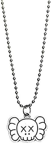 LKLFC Collar Colgante Collar de Cadena Mujer Hombre Collar Collar de Acero Inoxidable para Mujer Hombre Hip Hop Elefante Colgante Clavícula Cadena Suéter Enlace Accesorios Regalo para Pareja Regalo