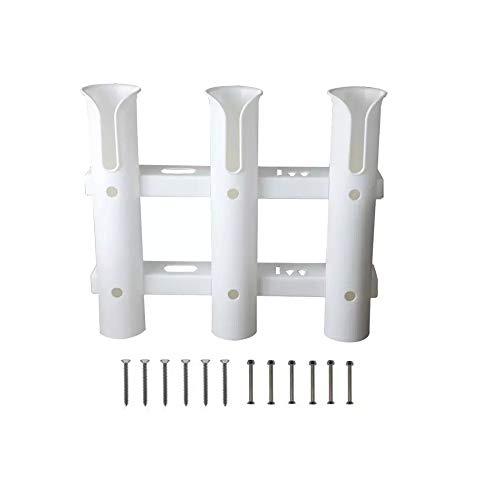 Ayunwei 3-Tube Fishing Rod Holder Fishing Rod Rack for Boat Yacht Kayak Truck or Garage Storage with Screws (White)