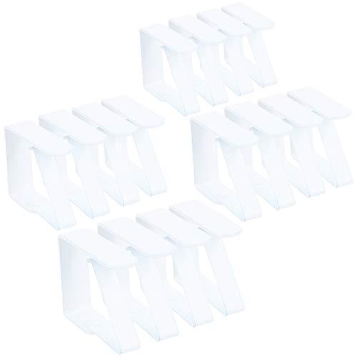 com-four® 16x Premium Tischdeckenklammer - Tischklammern aus weiß lackiertem Edelstahl - Tischtuchklammer für drinnen und draußen