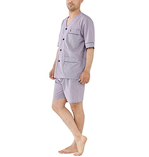 El Búho Nocturno - Pijama Hombre Corto Judo Popelín Cuadros Granate 60% algodón 40% poliéster Talla 6 (XXL)