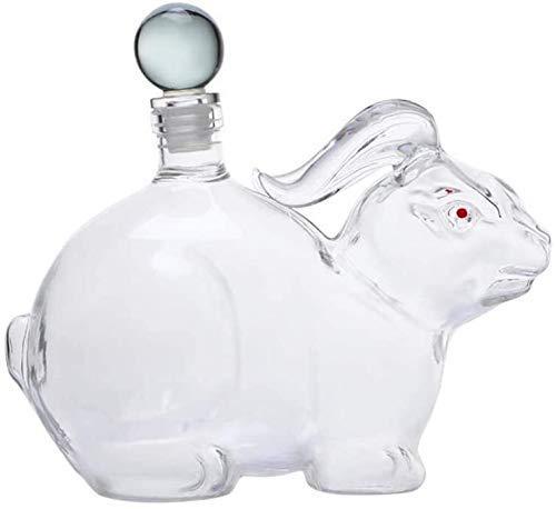DXMRWJ Decantador Creatividad Forma de Conejo 500 ML / 1000 ML Whisky Transparente Creativo Conejo Sello Decoración Botella de Vino (Color: 500 ML)