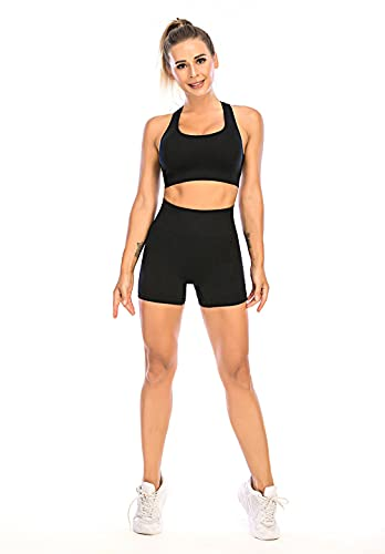 ArcherWlh Leggings Push Up Mujer,Corredor de Yoga Caliente Fitness Pantalones Traje de Cintura Alta Pantalones Cortos de Deporte Femenino Sujetador de Ropa Interior Pantalones Traje-Negro_Metro