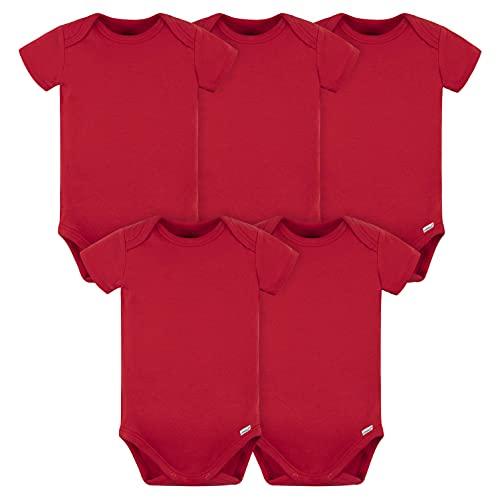 Gerber Paquete de 5 Monos para bebé, Paquete de 180 g/m², Rojo, 0-3 Meses