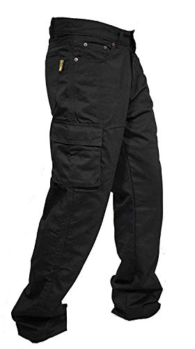 Motorradhose/Arbeitshose/Cargohose, Herren, Denim, verstärkt mit Futter aus Aramid, erhältlich in 4 Farben, schwarz, Cargo-black-38-30