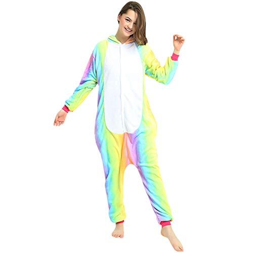 LPATTERN Erwachsene Damen/Herren Cartoon Kostüm- Jumpsuit Overall Schlafanzug Pyjamas Einteiler, Regenbogen und Weiß Pferd, XL für Körpergröße 173-185CM