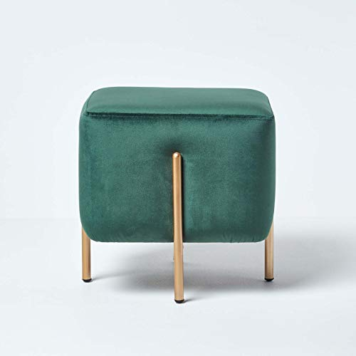 Homescapes skandinavische Samt Sitz Hocker, Nordische Pouf im minimalistischen Design, Sitzwürfel mit Beinen, einsetzbar als Fußhocker, Ottomane, Sitzpuff, oder Schminktisch Hocker, grün