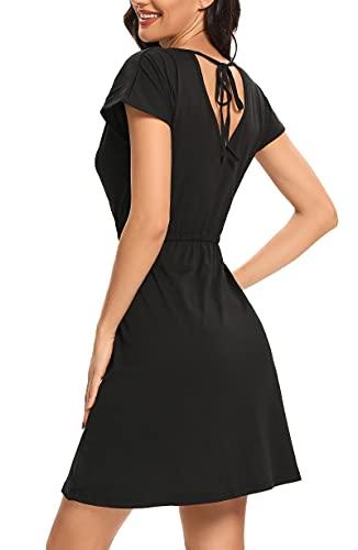 CakCton Summer Dress for Women Casual Swing Dresses T-Shirt Dresses V-Shaped on Back (Black, M)