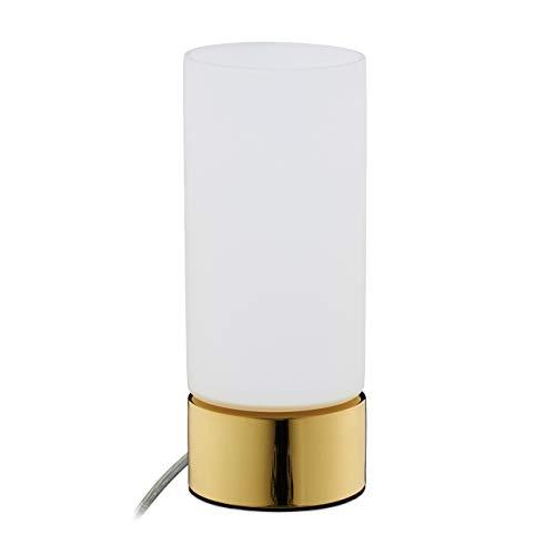 Relaxdays bedlampje Touch, met kabel, E14, modern design, melkglas, tafellamp H x D: 19,5 x 8 cm, goud/wit