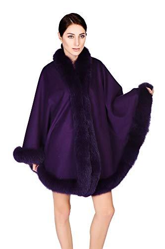 Cashmere Pashmina Group Cape/Capes/Cashmere Cape W/Fox Fur Trim/Shrug/Ruana/Poncho (Dark Purple)