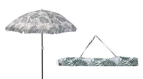 Meinposten. Sonnenschirm Strandschirm mit Blättern Ø 155 cm UV 30+ Schutz Schirm grün grau (Grün)