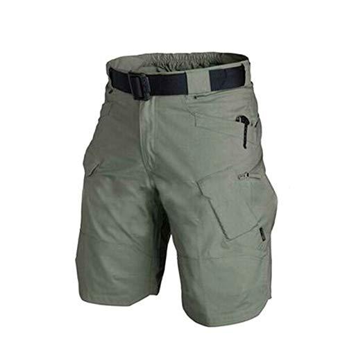 Pantalones Cortos para Hombre de Tetera Urban Military Cargo de algodon, Exterior de Camuflaje Verde Militar L