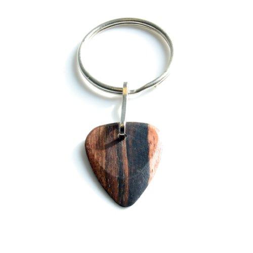 Timber Tones TTKRME1 - Portachiavi con plettro in legno d'ebano di Macassar, per chitarra elettrica, colore nero