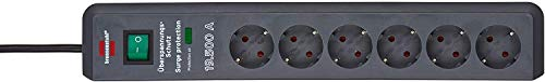 Brennenstuhl Secure-Tec Steckdosenleiste 6-fach mit Überspannungsschutz (Steckerleiste mit 2m Kabel und Schalter, Engineered in Germany) grau