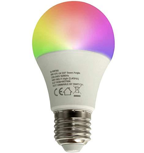 Bombilla LED Smart E27 6 W RGBW 2700 K WiFi no requiere HUB Alexa IFTTT Smartphone Google Android iOS