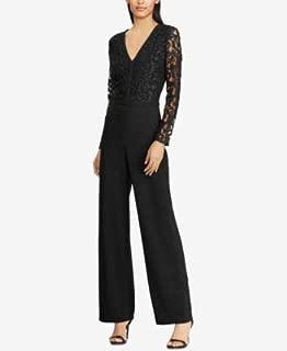 RALPH LAUREN Womens Black Lace Bodice Long Sleeve V Neck Wide Leg Evening Jumpsuit US Size: 14