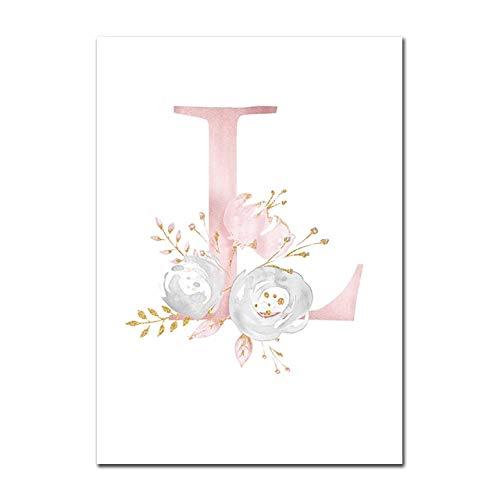 Baby Poster Personalisierte Mädchenname Benutzerdefinierte Poster Kinderzimmer Drucke Rosa Blumen Wandkunst Leinwand Malerei Bilder Für Mädchen Zimmer L 40X60cm Kein Rahmen
