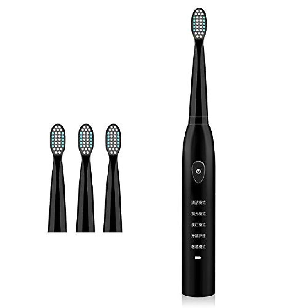 辛な加速度中毒4つの取り替えのブラシヘッドUSBが付いている電動歯ブラシは5つのモードを満たしました,Black