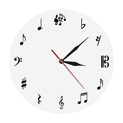 guijinpeng Relojes de Pared 30CM Estudio de música Reloj de Notas Musicales Clave de Sol Música Arte de Pared Reloj Decorativo Regalo para músicos o Cantantes diseño de Madera silenciosa