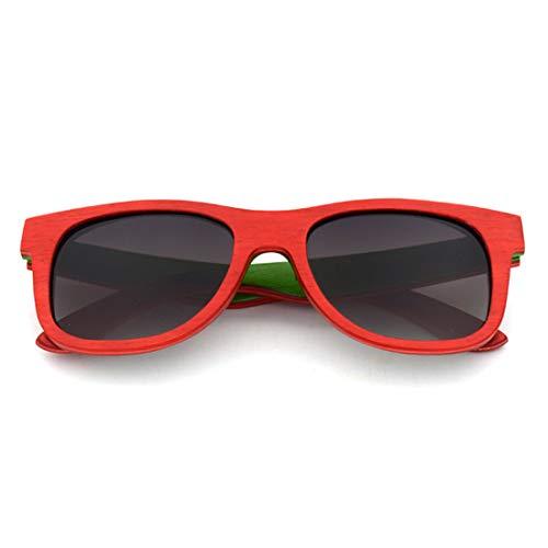 XIAOTANBAIHUO Anteojos Unisex-adulto Colorido Madera Estilo Retro Artesanía Bordeado Gafas de sol Lente de color Protección UV400 Gafas de sol Protección UV Gafas de seguridad (Color : Red)