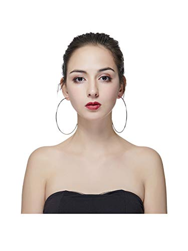 Hypoallergenic Extra Large Basketball Hoop Earrings for Women Men - Big Thin Hoop Earrings (Silver, 100)