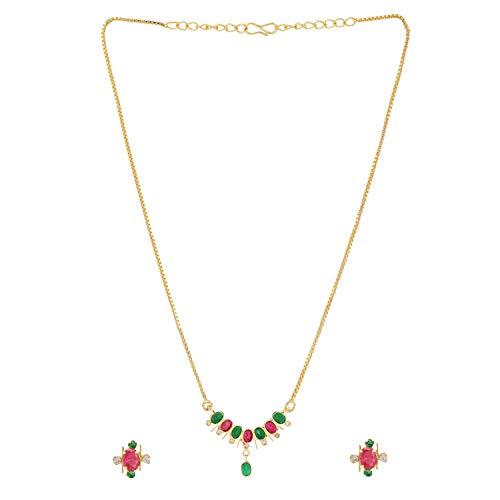 Efulgenz Collar tradicional con colgante étnico de circonita cúbica con cadena y pendientes para mujeres y niñas