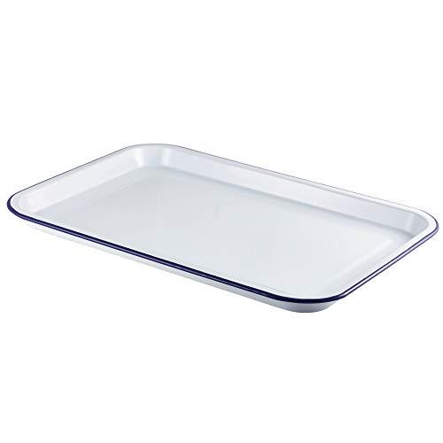 Serviertablett aus Emaille, 33,5 x 23,5 cm, Weiß mit blauem Rand