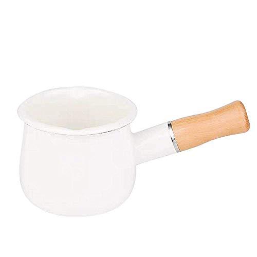 SLHP Emaille Klein Milchtopf Antihaft Milchpfanne mit Holzgriff Mini Stieltopf mit Ausguss 550ml