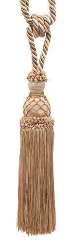 Elegant Ivory Beige, Light Peach and Light Olive Green Curtain & Drapery Tassel Tieback / 25cm tassel, 77cm Spread (embrace), 10mm Cord, Style# TBIN-1 Color: PRAIRIE PEACH - 3853