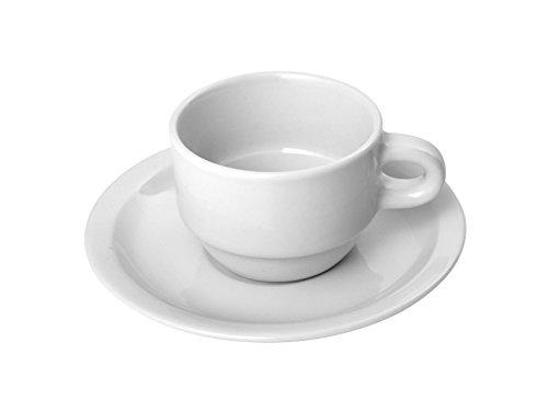HOTELWARE Pur Ariston Tasse à café avec Assiettes Petit-déjeuner, Porcelaine, Blanc, 88 ML, 12 x 12 x 6 cm