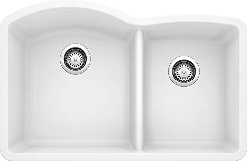 """BLANCO, White 440180 DIAMOND SILGRANIT 60/40 Double Bowl Undermount Kitchen Sink, 32"""" X 21"""""""