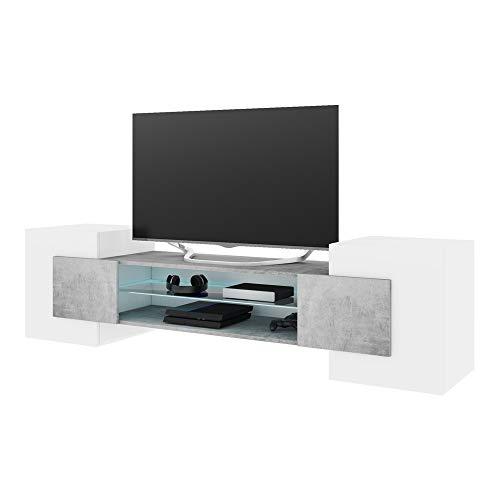 Selsey GAELIN - Mobile TV Moderno/Porta TV per Salotto/Tavolino TV 160 cm/Luci LED/Bianco e Grigio Cemento