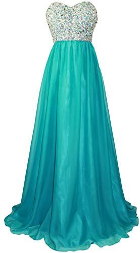 Meier Women's Strapless Beaded Bridesmaid Chiffon A-Line Gown in Jade Blue 14