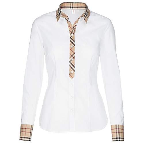 Seidensticker Damen CITY 1/1-LANG Bluse, Weiß (weiß 01), Gr 48