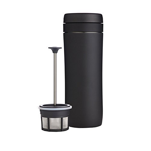 ESPRO Reise-French Press Travel Press, Mini Coffee Maker mit Thermo-Funktion, Edelstahl, Kaffee, to go, 350ml, schwarz