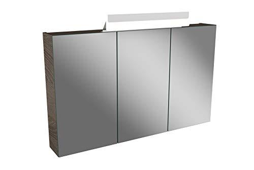 Lanzet LED Spiegelschrank L1 / Badschrank mit LED Leuchte/Maße (B x H x T): ca. 100 x 68 x 14,5 cm/Möbel fürs Bad oder WC/Badezimmer Schrank mit 3 Türen/Korpus: Braun dunkel/Front: Spiegel