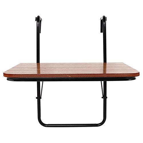 Dioche Mesa colgante de balcón, mesa de balcón plegable de MDF y hierro, mesa para colgar en la barandilla para jardín, balcón exterior, 60 x 40 x 39 cm