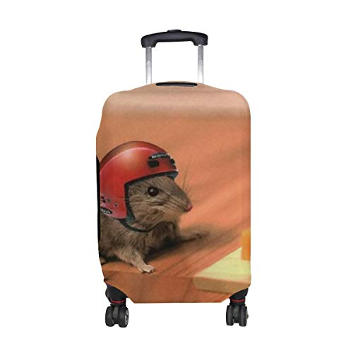 Mouse Cheese Mouse Trap Helmet Funny Situation Pattern Print Travel Luggage Protector Baggage Suitcase Cover Fits 18-21 Inch Luggage